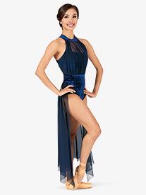 Womens Performance Crushed Velvet Halter Dress