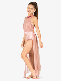 Girls Performance Crushed Velvet Halter Dress