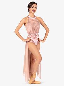 Womens Plus Size Performance Crushed Velvet Halter Dress