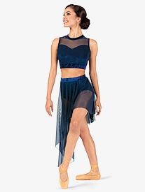 Womens Plus Size Performance Crushed Velvet Asymmetrical Skirt