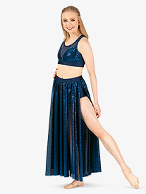 Womens Plus Size Performance Glitter Swirl Long Skirt