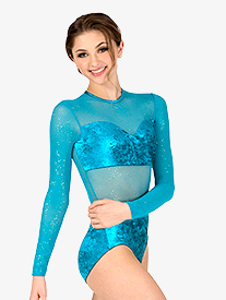 Womens Performance Velvet Long Sleeve Leotard