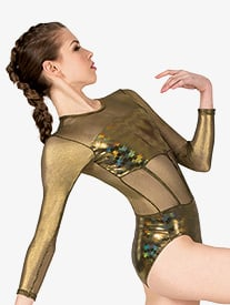 Girls Performance Metallic Long Sleeve Leotard
