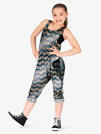 Girls Performance Metallic Chevron Tank Jumpsuit