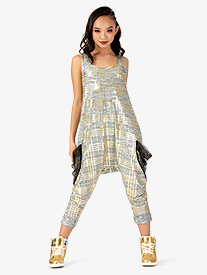 Womens Performance Metallic Print Tank Jumpsuit