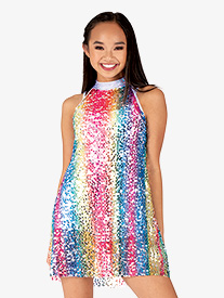 Womens Rainbow Sequin Halter Dance Costume Dress Set