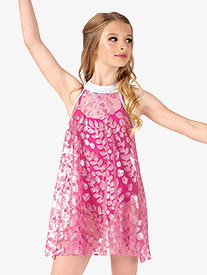 Girls Performance Glitter Petals Halter Dress