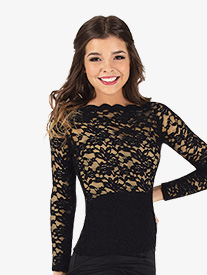 Womens Off-The-Shoulder Lace Ballroom Top