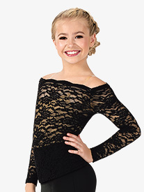 Girls Off-The-Shoulder Lace Ballroom Top