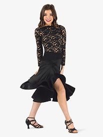 Womens Knee-Length Flared Ballroom Skirt