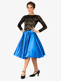 Womens Knee-Length Satin Ballroom Skirt