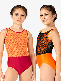 Girls Contrast Lace Tank Leotard