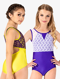 Girls Two-Tone Lace Tank Leotard