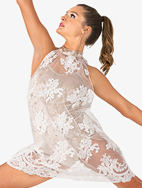 Womens Performance Sheer Floral Mesh Dress