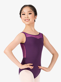 Girls Mesh V-Back Tank Leotard