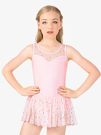 Girls Heart Mesh Tank Dress