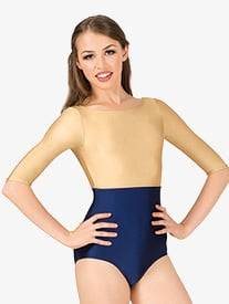 Womens Nylon Boatneck 3/4 Sleeve Leotard