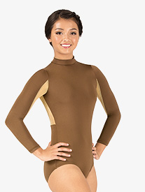 Adult Curvy Fit Long Sleeve Two-Tone Mock Neck Leotard