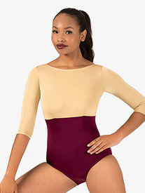 Adult Curvy Fit 3/4 Sleeve Two-Tone Leotard