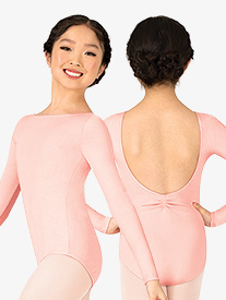 Studio Collection Girls Cotton Pinch Back Long Sleeve Leotard
