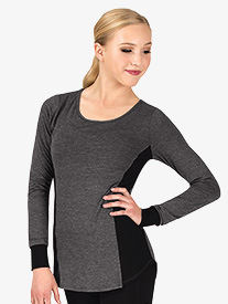 Womens Workout Mesh Side Insert Long Sleeve Top