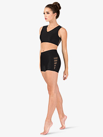 Womens Mesh Binding Side Detail Dance Shorts