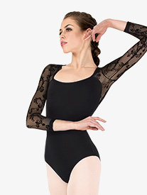 Womens Cascading Floral Mesh 3/4 Sleeve Leotard