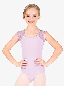 Girls Floral Mesh Cap Sleeve Leotard