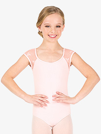 Girls Ribbon Mesh Cap Sleeve Leotard
