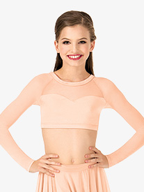 Child Long Sleeve X-Back Dance Crop Top