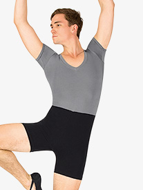 Mens Dance Two-Tone Short Sleeve Shorty Unitard