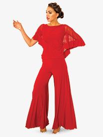 Womens Mid-Length Palazzo Ballroom Dance Pants