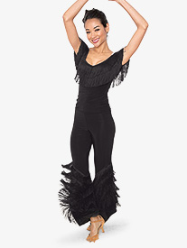 Womens Diagonal Fringe Ballroom Dance Pants
