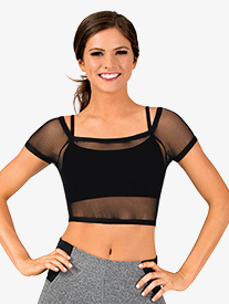 Womens Mesh Overlay Short Sleeve Dance Crop Top