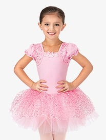 Girls Mock Wrap Puff Sleeve Tutu Dress
