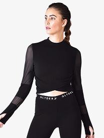 Womens Mesh Long Sleeve Workout Crop Top