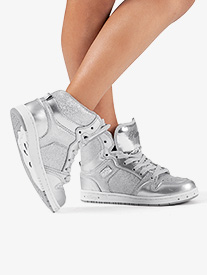 Kids Glam Pie Glitter Silver Sneakers