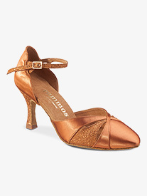 Womens Closed Toe Glitter Satin Ballroom Dance Shoes