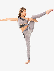 Girls/Womens Filigree Velvet Asymmetrical 2-Piece Dance Costume Set