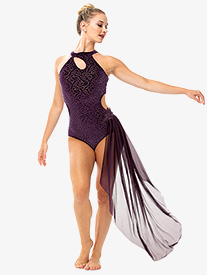 Girls/Womens Filigree Velvet Asymmetrical Bustled Leotard