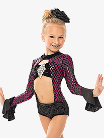 Girls/Womens Diamond Sequin Long Sleeve Leotard