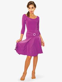Womens Triple Strap Knee-Length Ballroom Dance Skirt