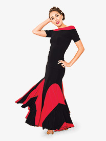 Womens Long Colorblock Trumpet Ballroom Dance Skirt