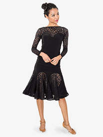 Womens Short Lace Godet Ballroom Dance Skirt