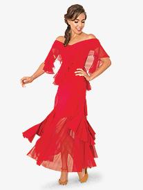 Womens Ruffled Basque Mesh Ballroom Dance Skirt
