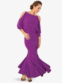 Womens Long Trumpet Ballroom Dance Skirt