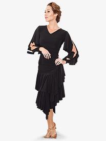 Womens 2-Tier Asymmetrical Ruffled Ballroom Dance Skirt