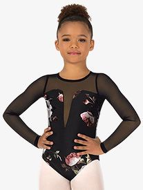Girls Metallic Rose Mesh Long Sleeve Leotard