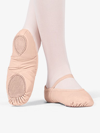 Child Spandex Arch Leather Split-Sole Ballet Shoes