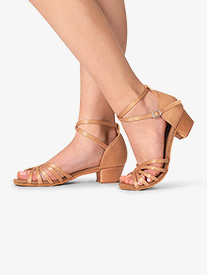 Girls Satin Strappy Ballroom Shoes